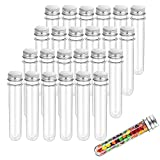 25pcs 40ml Test Tube,Clear Plastic Tubes with Caps,25x140mm for Scientific Experiments,Party Decoration,Candy,Bath Salt