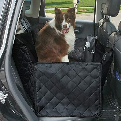Premium Quality Car Seat Cover for Dogs, Waterproof with Door Protection,Nonslip Scratch Proof 600D Washable Pet Back Seat Cover. 3-in-1 Car Seat Protector, Boot Liner,Dog Travel Hammock for all Cars