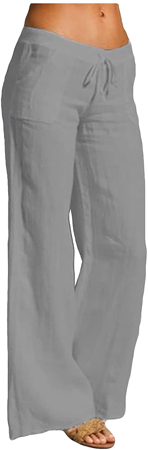 BUYYA Ladies' Temperament High Wide-Leg Pants, Casual Loose-Fitting Sports Pants Comfortable Trousers Gray
