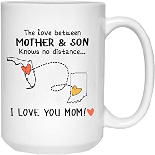Mothers Day Gift For Son, Mom - The Love Between Mother And Son Knows No Distance Florida Indiana, I Love Mom! - State To State FL IN Funny Mug 15 oz