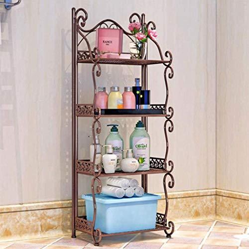 YLCJ rek met 4 verdiepingen van metaal voor saus flessenrek flessenhouder vloerhouder toilet shampoo hall barbier boutique decoratie (kleur: wit)