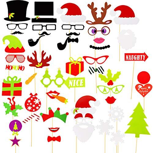 SAVITA 50 Stück Weihnachten Fotoautomat Props Kit Selfie Requisiten Zubehör für Weihnachten Theme Partyzubehör für Erwachsene Kinder