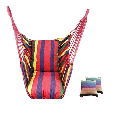 labworkauto Hammock Hanging Rope Portable Hammock Chair Swing Seat Portable Porch Seat - 2 Seat Cushions Included up to 265 Pounds (Rainbow)