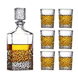 KAYBELE Decantador de Whisky Set de 7 Piezas Set Large Vino Decanter Set Bar Carafe y 6 Gafas de Whisky de Vino con Tope Cristal Conjunto de vinos Decoración Sello de decoración Bodega (Color : A)
