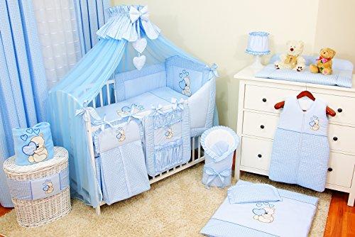 Baby-Bettwaren, Komplettset XXL,18-teilig, Bettwäsche, 100% Baumwolle mit Stickerei + Moskitonetz, mit Teddy/Bär besticktes Motiv für Mädchen oder Jungen. (Blau, 60x120cm)