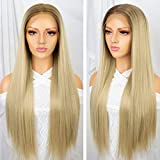 Persephone 13x6 Lace Front Wig Ombre Blonde Free Deep Parting 2 Tones Synthetic Wigs Long Straight Heat Resistant Daily Beach Blonde Hair Replacement Wigs for Women 22 Inches