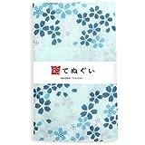 彩(irodori) ガーゼ手ぬぐい 小桜の舞 ブルー 青 和モダン 二重袷 ほつれ防止加工 約35×90cm