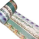Meiwash Washi Tape Set Decorativo Adesivo Nastro Washi Multi-Pattern Adesivo Scrapbooking e pallottole Nastro Decorativo per Regali Fai da Te Arti e Mestieri (Ombrello e Foglie, Confezione da 5)
