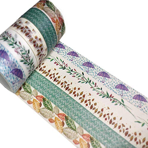 Meiwash Washi Tape Set Adhesivo decorativo Multi-patrón Washi Cinta adhesiva Scrapbooking y Bullet Journaling Tape Decoración para regalos de bricolaje Artes y oficios (Paraguas y hojas, paquete de 5)