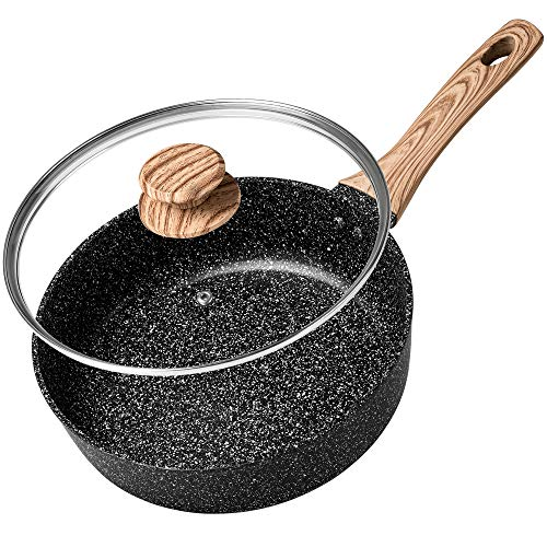 MICHELANGELO Deep Frying Pan with LidNonstick Pan Saute Pan with LidInduction Skillet Nonstick with Lid PFOA and PTFE FreeStone Nonstick Pan with Soft Bakelite Handle95 Inch