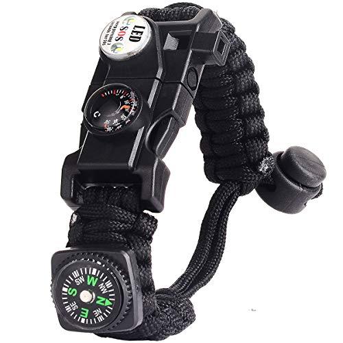 Paracord Survival Armband Kit für Herren Damen, Survival Armband mit Feuerstein + Kompass + Thermome (Schwarz)