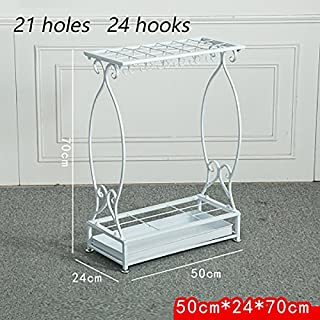 Yxsd White Cast Iron Umbrella Stand with Hooks and Drip Tray Walking Stick Stand Square (Size : L)