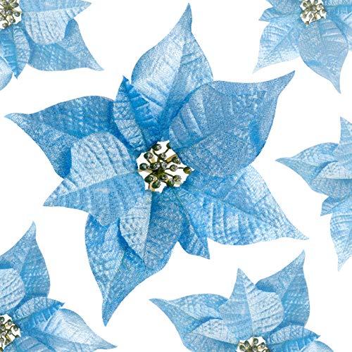 Flores De Navidad Para Decorar Azul flores de navidad para decorar  Marca Kyrieval