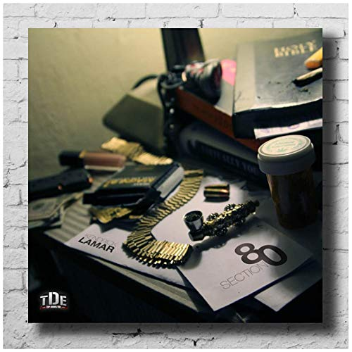 IDOLN1 Kendrick Lamar Section 80 Artwork Music Album Cover Posters and Prints Canvas Wall Art Painting Pictures for Living Room Home Decor Gift -50x50cm No Frame 1 PCS