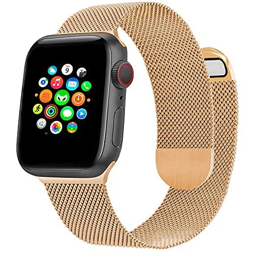Correa de Reloj Metálica Milanesa Compatible con Apple Watch Band 44 mm 42 mm, Pulsera de Repuesto de Malla de Acero Inoxidable Ajustable Magnética para iWatch Series 6 5 4 3 2 1 SE, Oro Rosa