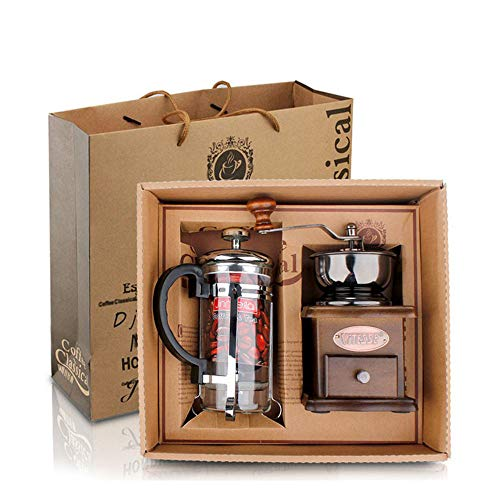 ZGY Hand-Cranked Coffee Grinder Gift Box, Classic Grinder Press Pot Set Coffee Equipment Gift Best Choice