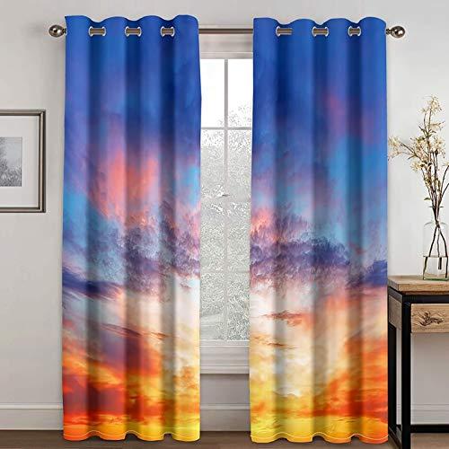 Epinki Cortinas Dormitorio 2 Piezas Cielo con Puesta del Sol Azul Naranja Cortinas Poliester, Disponible en 21 Tamaños, Talla 274x274CM