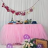 MYMM Falda de Mesa, Gasa de Escritorio romántica de Tul, decoración de Mesa, Mantel de Copo de Nieve del país de Las Maravillas, para Baby Shower, Boda, cumpleaños, día de San Valentín Navidad (3FT)