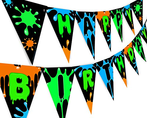 Slime Green Happy Birthday Banner Pennant - Slime Party Decorations - Art Party Supplies - Slime Party Supplies - Green