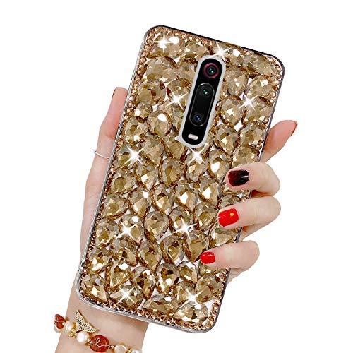 Bling Glitzer Hülle für Xiaomi Mi 9T/Mi 9T Pro/Redmi K20/Redmi K20 Pro, Misstars 3D Diamant Strass Handyhülle Transparent Hart PC Rückschale mit Silikon TPU Rahmen Schutzhülle, Gold