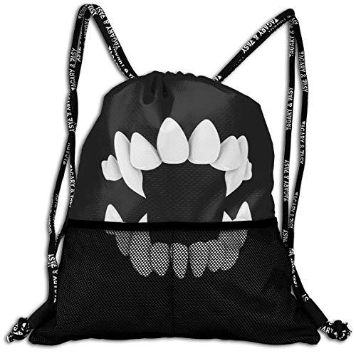 Lmtt Sac à Cordon pour Hommes/Femmes-Fangs Teeth Fashion Lightweight Sackpack Casual Bundle Backpack for Sports, Travel, Gym, Training, Yoga