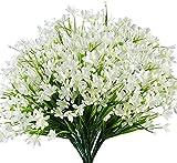 Ruiuzioong Flores de narcisos Artificiales,Paquete de 4 Plantas de plástico sintético Resistente a los Rayos UV,para Interior, Exterior, jardín, Cocina, Oficina, Mesa, florero (Blanco)