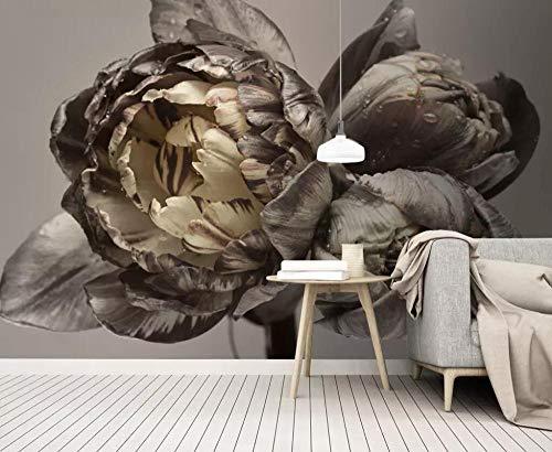 Fotobehang - Grijs Chrysant Non-Woven Muurschildering voor Premium Art Print Poster Beeld Ontwerp Moderne Slaapkamer Woonkamer Woonkamer Huisdecoratie 150x105 cm/59x41.33 inch - 3 Strips