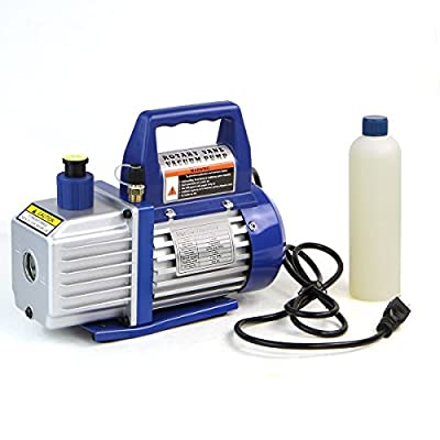 XtremepowerUS Vacuum Pump HVAC A/C Refrigeration Kit AC Manifold Gauge Carrying Tote + Quick Coupler R134a