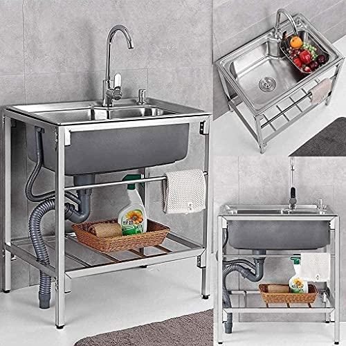 Fregaderos comerciales, Fregadero comercial de acero inoxidable Fregadero de un solo tazón con grifo frío caliente para la lavandería Garaje interior de la cocina al aire libre Restaurante-75