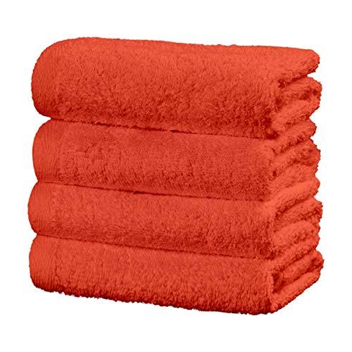 Viste tu hogar Juego de 4 Toallas Hechas 100% de Algodón,30x50 cm, Suaves y Absorbentes, Ideales para Uso Diario y Decoración, en Color Naranja.