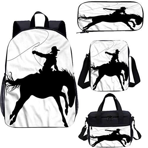 Ensemble de sacs à déjeuner, sac décole de 17 cm, sac à dos pour cheval, équitation occidentale, 4 en 1