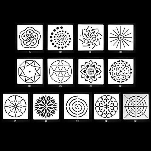 YRBB 13 stuks gesorteerde patronen mandala-stippen schildersjablonen sjablonen gereedschap voor doe-het-zelf handwerk meubels hout canvas rots stoffen kunst
