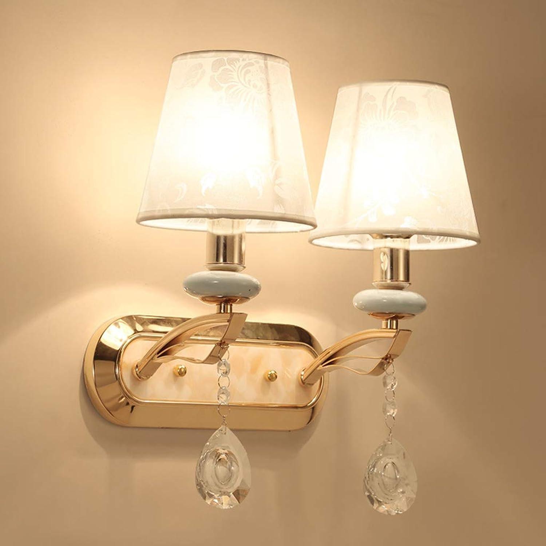 SACYSAC Wandlampe Kristall Wandlampe Nachttischlampe Wohnzimmer Stoff Dekorationslampe,B