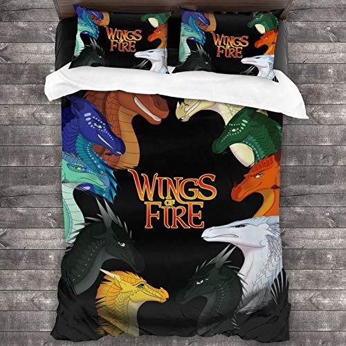 232 Juego de sábanas de 3 piezas con cierre de cremallera de W-Ings Of Fire Super suave (1 juego de edredón, 2 fundas de almohada) 2016 x 188 cm