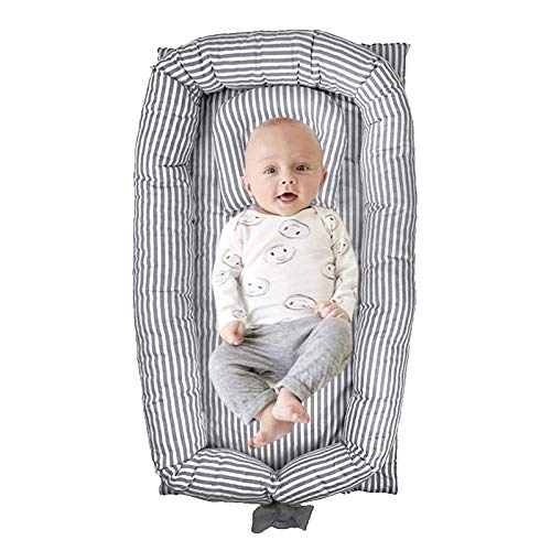 ABREEZE Baby Nest Baby Lounger Grey Striped Baby Lounger Breathable Washable Portable and Lightweight Perfect for Cuddling Lounging Co Sleeping Napping and Travel Bassinet024 Months