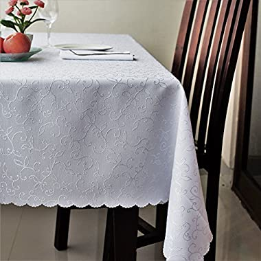Stain Resistant Turkish White Tablecloth Polyester Table Linen, Rectangle, Square, Round, Washes Easily, Non Iron - Thanksgiving, Christmas, Dinner, Wedding, Easter (WHITE, Rectangular 60 x120 )