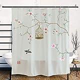 Ofat Home Japanischer Duschvorhang, traditionelle chinesische Farbmalerei, Pfirsichblüten & Vögel, Malerei, künstlerische Badezimmer-Gardinen, 183 x 183 cm, Sets mit Haken
