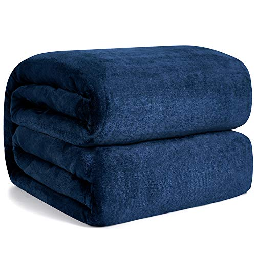 Hansleep Fleece Blanket Sofa Throw - Navy Blue Throw Fluffy Soft Small Throws and Blankets for Beds Settees Couch Chairs Single Size, 130x165cm