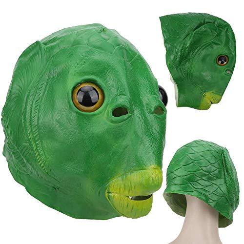 ZXY Bonita Máscara de Pez Verde, Máscara de Fiesta de Monstruo con Cabeza de Pez, Máscaras de Látex para Cosplay de Animales Adultos Verdes (pez Verde)