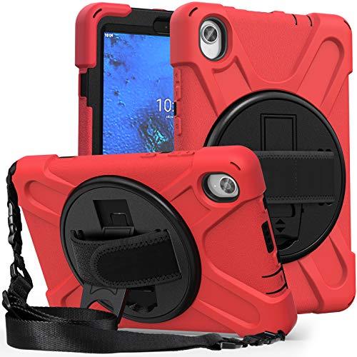 QYiD Case for Lenovo Tab M8 FHD Case (2020), TB-8705F/TB-8705N, Cubierta Resistente Duradera a Prueba de Golpes con Soporte/Correa de Mano para Lenovo Tab M8 8.0 Pulgadas HD 8.0 Pulgadas, Rojo