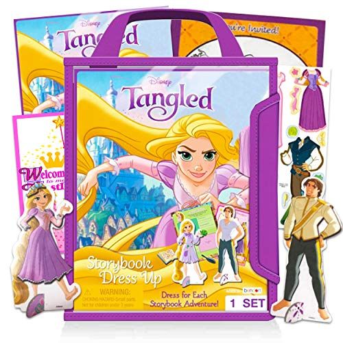 Disney Tangled Rapunzle Doll Dress Up Playset - 37 Pc Tangled Disney Princess Magnetic Dress Up Wooden Dolls Figures Set with Accessories (Disney Tangled Toys)