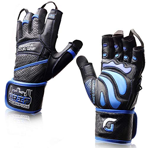 "Elite Leather Gym Gloves with Built in 2"" Wide Wrist Wraps Best Leather Glove Design for Weight Power Lifting Bodybuilding & Strength Training Workout Exercises (Blue, X-Large)"