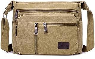 DIEBELLAU Men's Canvas Bag Men's Shoulder Messenger Bag Fashion Diagonal Shoulder Bag Small Bag Large Capacity Multi-Layer Men's Bag (Color : Khaki)