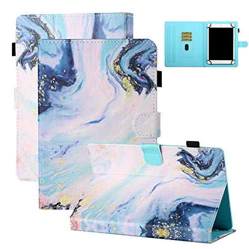 9.6-10.5 inch Tablet Case with Stylus Pen Loop/Credit Slots, Coopts Anti-Shock Multi Angles Stand Case for Lenovo Tab 2/Tab 4 10 Plus/Galaxy Tab S 10.5/S6 Lite/Tab A7 10.4/Note 10.1, White Marble