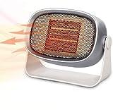 Termoventilador de Sobremesa - Mini Calefactor Eléctrico Estufa Portátil Bajo Consumo de PTC Cerámica con Rotación de 360 ° & Protección Contra Sobrecalentamientocon para Casa/Oficina/Camper (500W)