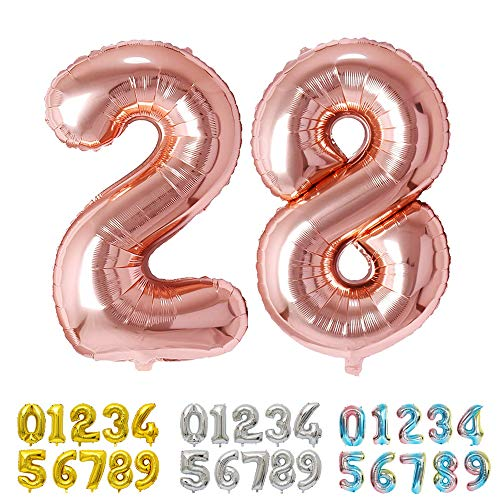 Ponmoo Foil Globo Número 28 82 Oro Rosa, Gigante Numeros 0 1 2 3 4 5 6 7 8 9 10-19 20-29 30 40 50 60 70 80 90 100, Grande Globos para La Boda Aniversario, Globo de Cumpleaños Fiesta Decoración