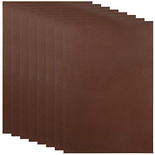 8 Pieces Leather Repair Patches, First-aid for Sofas Car Seats, Handbags Jackets, 8-inch by 12-inch, Brown