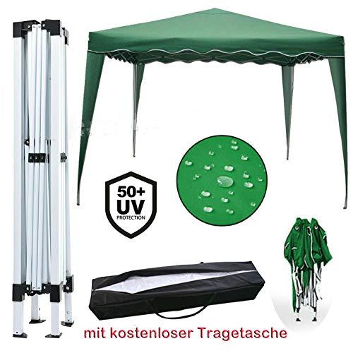 Yiyai 3x3m Pop Up Falt Pavillon - 100% WASSERDICHT | UV-Schutz 50+ | inkl. Tasche HOCHLEISTUNGSZWECKE Zelt Marquee(Ohne Seitenteile) Grün