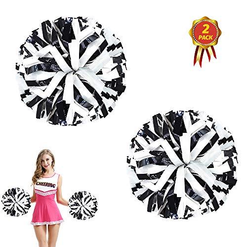 AUHOTA 2 Stück Kunststoff Cheerleading Pom Poms mit Taktstock Griff, Cheerleader Pompons Handblumen (Schwarz/Weiß)