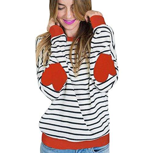 Ulanda Damen Gestreift Langarmshirt Bluse Tunika Oberteile Streifen Ellbogen Patch Loose Pullover Patchwork Baumwolle Langarm Lose Shirt Hemd Tops für Teenager Mädchen (Orange, L)